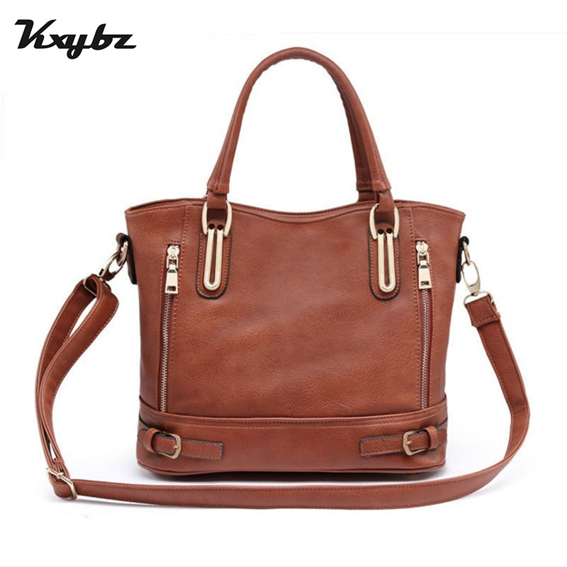 KXYBZ PU Leather European Style High Quality Women Shoulder Bag Top-Handle Solid Casual Ladies Handbag Big Female Tote Sac K2027 designer vintage female knitting handle handbag quality pu leather casual tote bag durable portable daypack shoulder bag