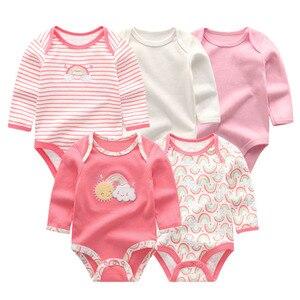 Image 3 - 5 יח\חבילה newbron 2018 חורף ארוך שרוול תינוקת ompers כותנה סט תינוק סרבל בנות roupa דה bebe תינוק ילד בגדים