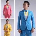 2016 Nuevos de manga Larga Trajes de Hombre Vestido Alojado Teatral Esmoquin Para Los Hombres Wedding Prom Rojo Amarillo Azul Y Verde M L Traje de Los Hombres