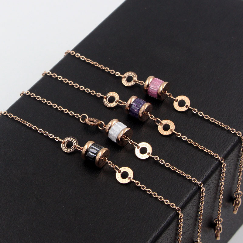 f30839ed6636 Classic Super Beautiful Roman Number Circle 4 Color Crystal Bracelet  Stainless Steel Rose Gold Brand Jewelry