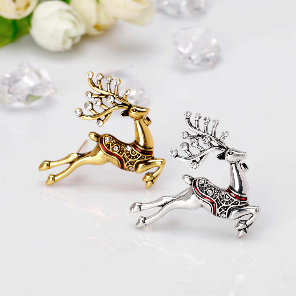 Christmas Moose Animal Brooch Pin for Women men Kids Jewelry Gift