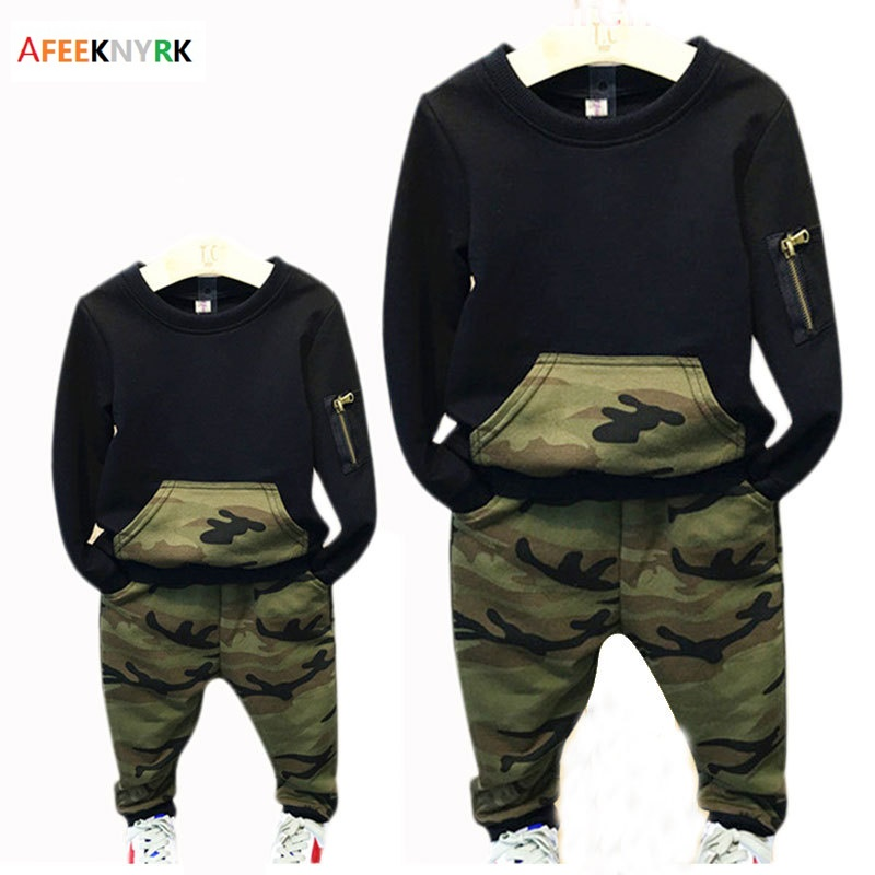 Kids boys girls sets New Children Sports shirt + Camouflage pants 2 Piece Clothes clothing baby 2017 Spring Autumn tracksuit