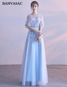 BANVASAC 2018 Flowers Appliques A Line Long Evening Dresses Party Illusion O Neck Lace Half Sleeve Zipper Back Prom Gowns