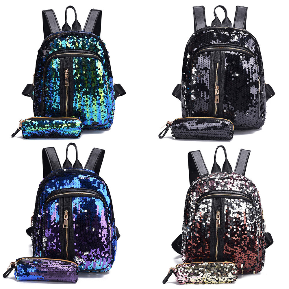 Aelicy Fashion Sequins Women Leather Backpacks Bling Female Fashion Backpack Bag Girls School Bags Travel Bags #6