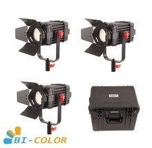 3 Pcs CAME TV Boltzen 60w Fresnel Fanless Focusable LED Bi Color Kit Led video light