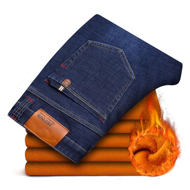 2018 black blue jeans for men winter Warm Fleece Men's baggy jeans thick Stretch Denim Jean Straight Pants plus size 44 46