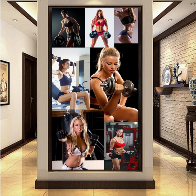 Custom 3d wallpaper  3D stereo wallpaper Beauty gym Muscle tooling entrance living room wallpaper Sports Hall mural custom size photo customized 3d stereo sports wallpaper gym yoga basketball stadium playground wallpaper mural