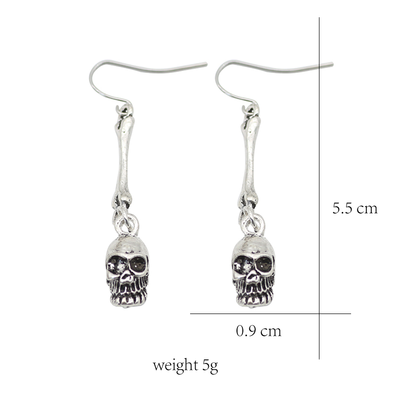 Vintage Punk Skull Tassel Earrings Textured Skull Bones Earrings For Women  Skeleton Earings Fashion Female Jewelry Brinco-in Stud Earrings from Jewelry  ... fc369958397c
