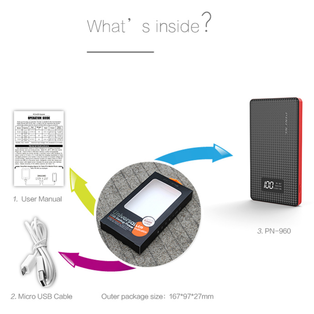 Banco do Poder de carregador portátil led indicador Capacidade DA Bateria (mah) : 5001-7000 MAH