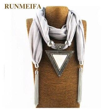 2018 mujer triángulo dijes bufanda Foulard mujeres Pashmina Echarpe gota colgante bufandas regalo de Navidad joyería bufandas collar