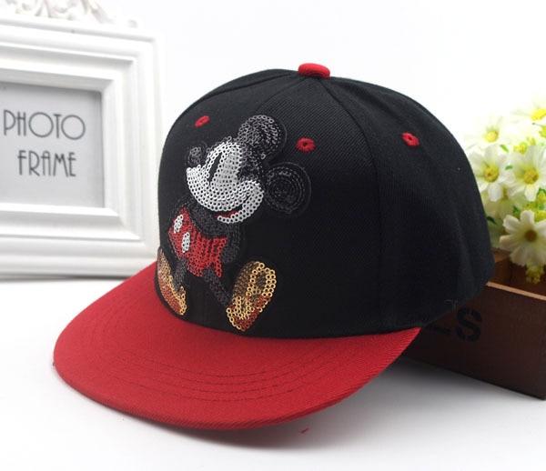 In Summer Cap Net Yarn Children Snapback Sequin M Mickey Cap Sequined Net Hats Cool Hip Hop Cap Hat Kids Caps Mesh Kasket Viseir Superior Quality