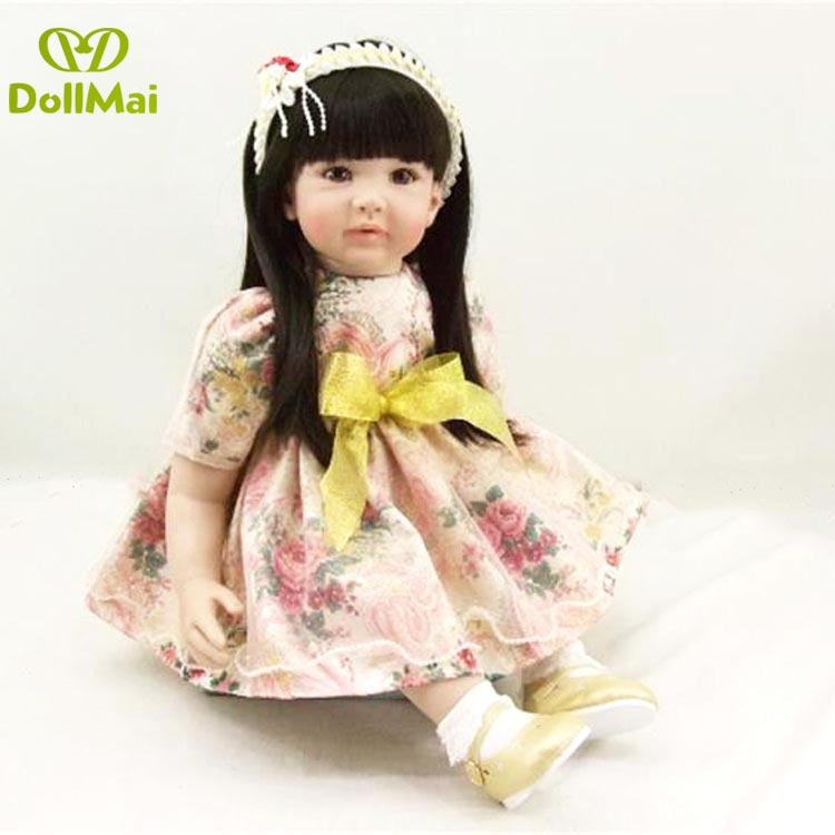 24 60cm girl doll reborn silicone vinyl children play house toy dolls bebe gift reborn boneca Fashion skirt set reborn DOLLMAI24 60cm girl doll reborn silicone vinyl children play house toy dolls bebe gift reborn boneca Fashion skirt set reborn DOLLMAI