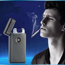 อุปกรณ์การสูบบุหรี่โลหะชีพจรไม่มีก๊าซคู่Arcลมแบบชาร์จแอลอีดีUSBไฟฟ้าไฟแช็กพร้อมกล่อง