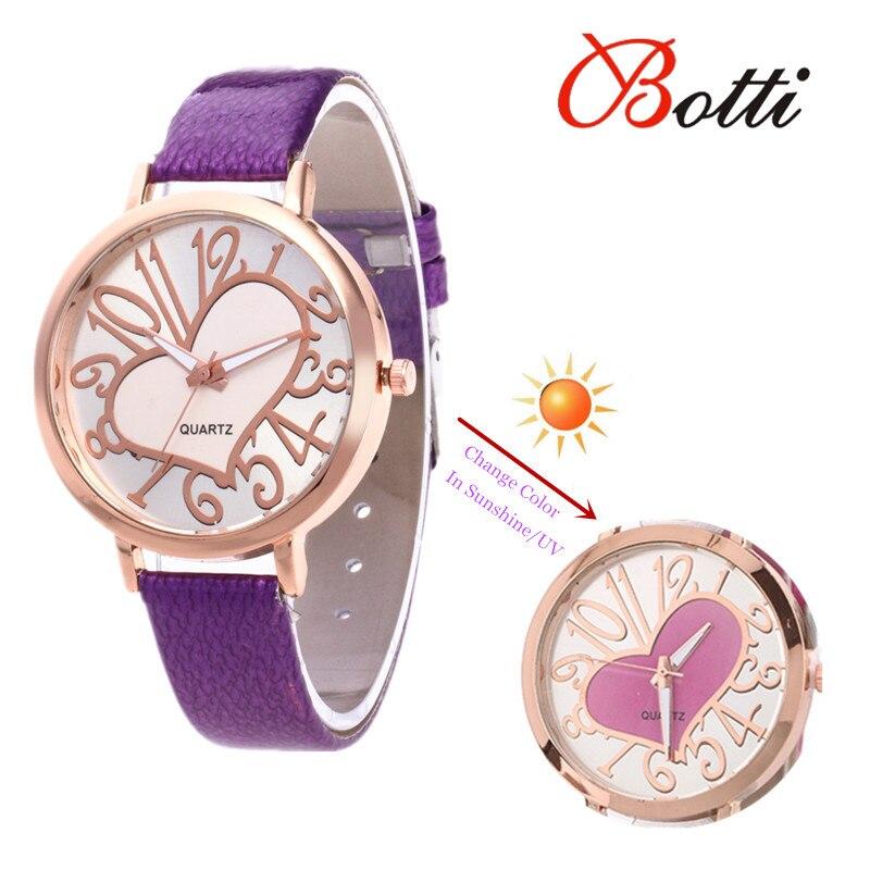 335373d378b6d New Fashion Heart Style Temperature Change Color Women Watch Sun UV Color  Change Women Quartz Wristwatches
