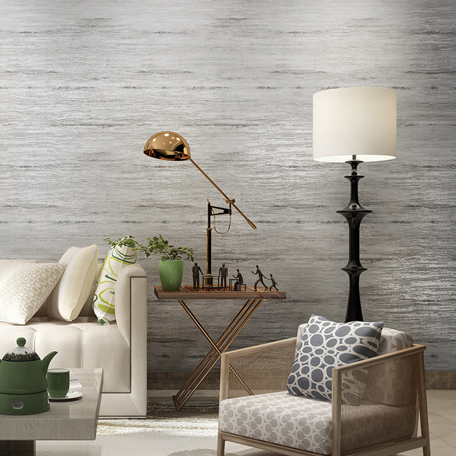 Modern Classic Solid Color Striped Non woven Grey Wallpaper For ...