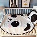 Симпатичные кисточкой белый и черный спортивный круговой одеяло младенца хлопка сна panda дизайн для детей спальня постельные принадлежности одеяло дышащий мягкая