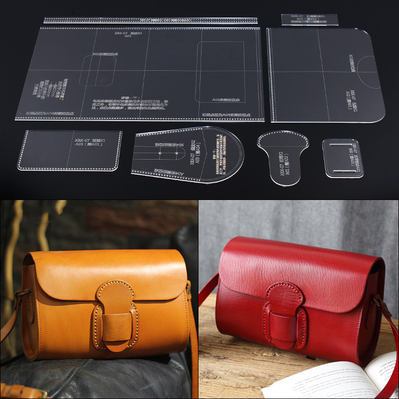 1Set Leather Craft Handbag Sewing Pattern Acrylic Stencil Template DIY Handmade Craft Supplies