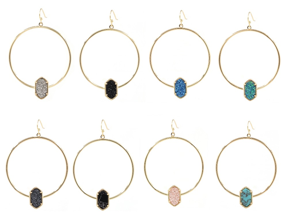 2018 nouveau Faux cuivre cercle ovale Druzy Quartze boucles d'oreilles mode bijoux mignon multicolore ovale boucles d'oreilles pour les femmes