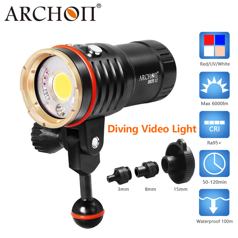ARCHON 6000lm 2 in 1 diving light Waterproof 100 m Diving photography fill light white red uv color led diving photo video light