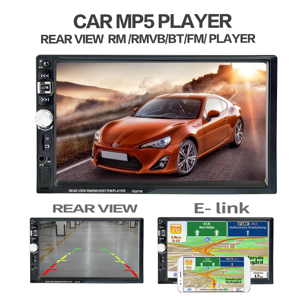 7 Touch Screen 7026 Car Bluetooth MP5 Player GPS Navigation Support TF USB AUX FM Radio Rearview Camera Steering Wheel Control 7 hd 2din car stereo bluetooth mp5 player gps navigation support tf usb aux fm radio rearview camera fm radio usb tf aux