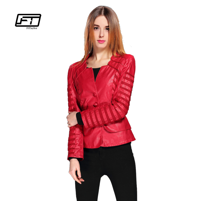 Fitaylor New Spring Autumn Wanita Jaket Kulit Faux Pu Wain Hitam Red Zippers Long Sleeve Plus Size 4XL Motosikal Biker Coat