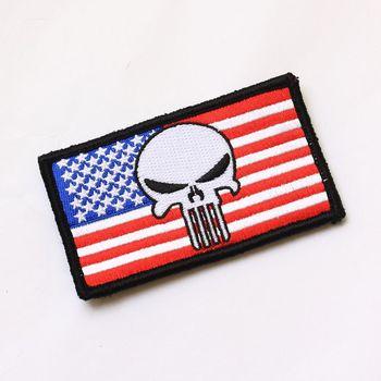 Wojskowy patch armia odznaka wojskowa taktyczne Patch #8222 flaga amerykańska czaszka Punisher #8221 Armlet odznaka ramię Patch tanie i dobre opinie GEOMETRIC AUTUMN summer Winter Wiosna T S N K Sukno