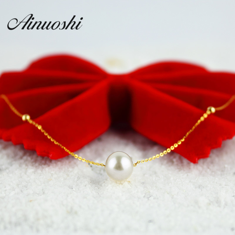AINUOSHI 18K Yellow Gold Natural Cultured Freshwater Pearl Link Chain Simple Design Pearl Necklace Women Bijoux