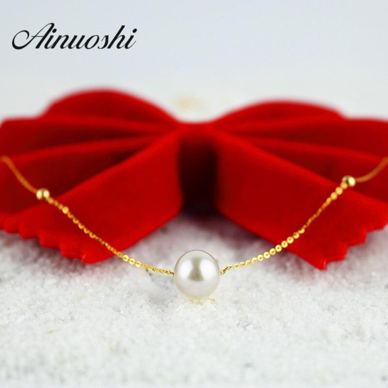 AINUOSHI 18 K or jaune naturel de culture d'eau douce perle lien chaîne conception Simple collier de perles femmes Bijoux en gros bijou