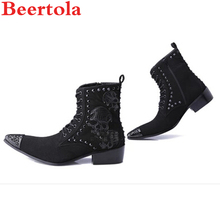 474346904f83a4 Beertola Mode Schwarz Designer Männer Echtes Leder Stiefeletten Mode Schädel  Muster Metall Kopf Stiefel Spitz Oxford Schuhe