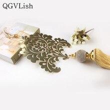 QGVLish 1 Pcs Luxury Gold ผ้าม่านพู่ยาว Tiebacks แขวนเข็มขัดผ้าม่านอุปกรณ์เสริม Villa แปรง Bind