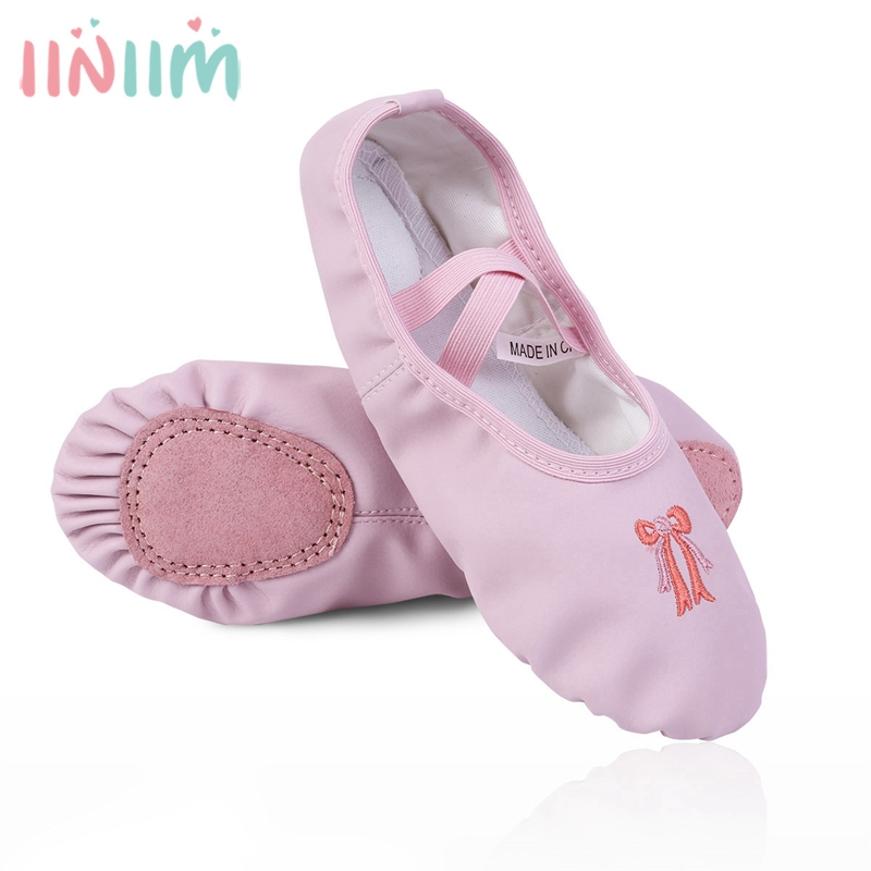 2018 Girl summer ballet slippers Ballet shoes for Chilrren danseuse PU Leather professional Ballet dancers for girls 9.5-3 M
