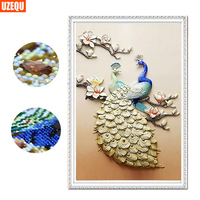 UzeQu Special Shaped Diamond Embroidery Peacock 5D DIY Diamond Painting Cross Stitch Diamond Mosaic Painting Rhinestones