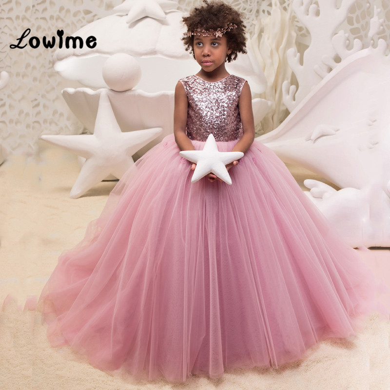 Sequins   Flower     Girl     Dresses   Pageant Gowns For Weddings 2018 Custom Made Cheap First Communion   Dresses   For   Girls   Vestidos Daminha