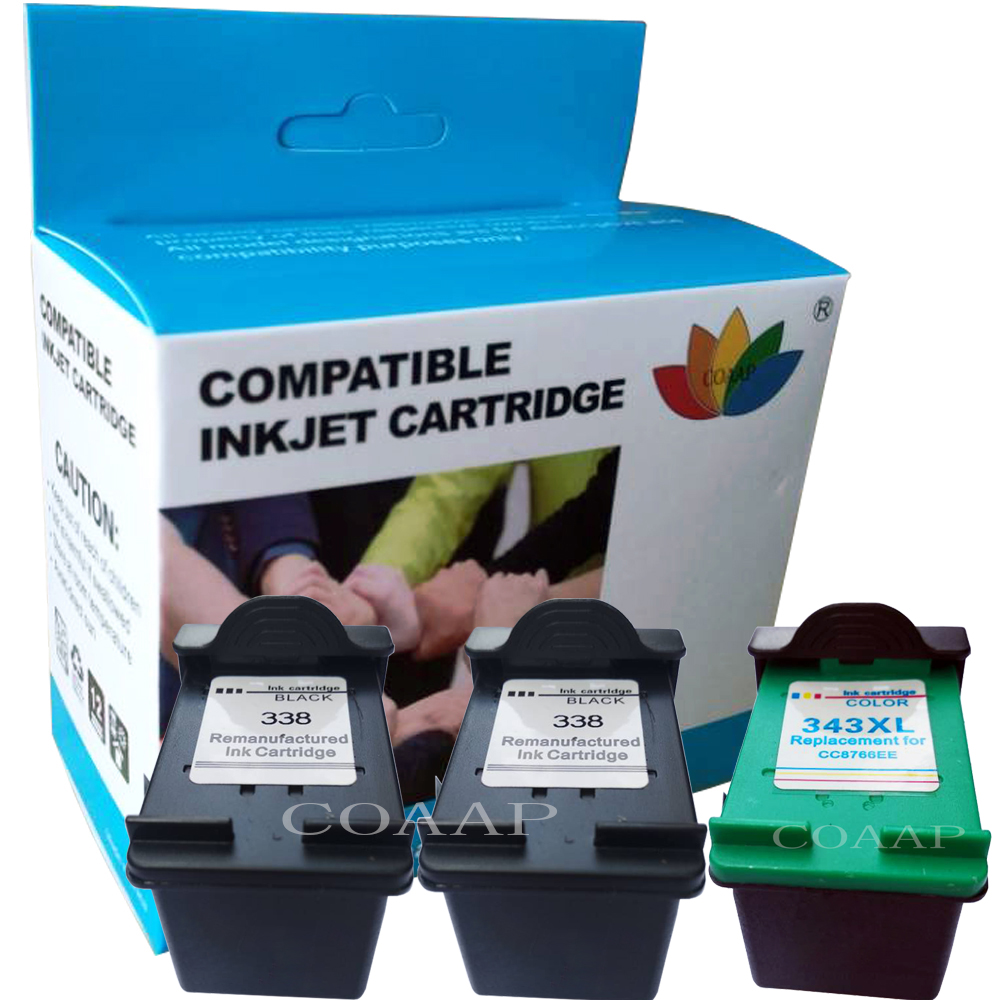 Refilled <font><b>Ink</b></font> Cartridges for Compatible <font><b>HP</b></font> 338 343 Photosmart <font><b>C3100</b></font> C3110 C3140 C3150 C3170 C3180 C3190 Officejet 7210 7310 7410 image