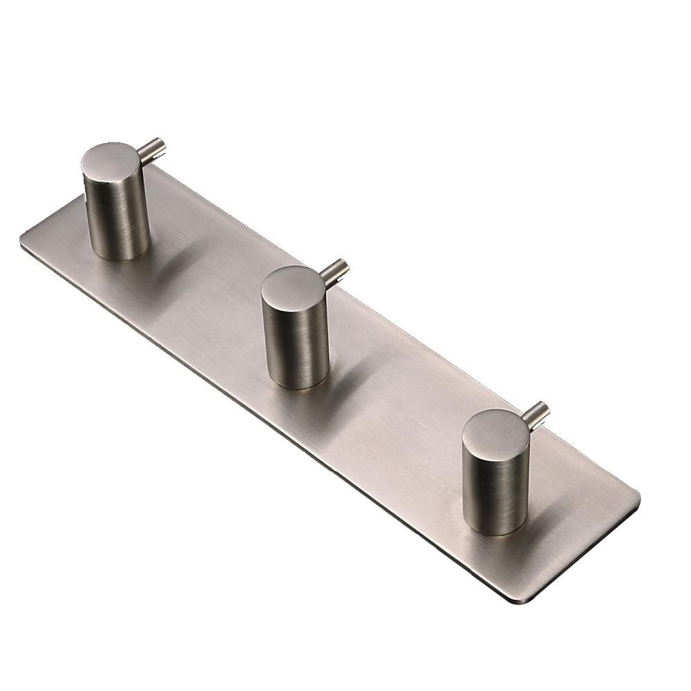 Stainless bathroom accessories - Stainless Steel Towel Rack With 3 Hooks Door Wall Coat Robe 3m Self Adhesive Bathroom Accessories
