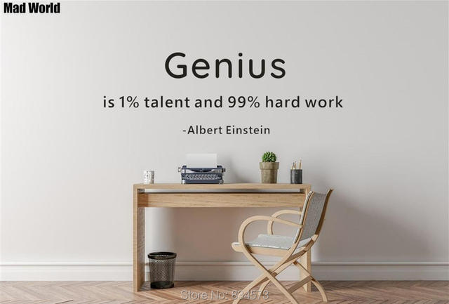 Albert Einstein Quote 99 Percent Hard Work Wall Art Stickers Decal Home DIY Decoration Removable Room Decor
