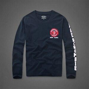 Image 1 - 長袖 tシャツの男性の春と秋のラウンド襟カジュアルコットン Tシャツサイズ s 3XL