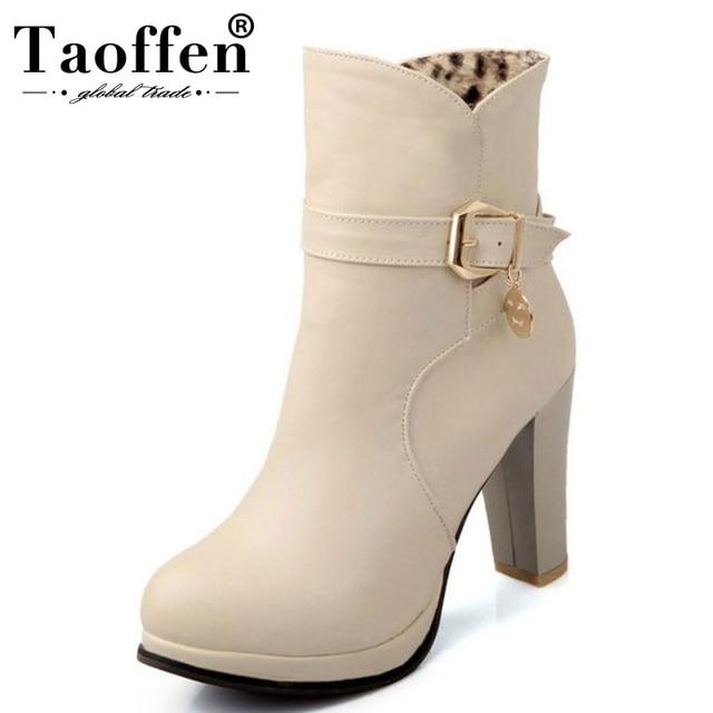 82c50ae8c56 US $25.98 49% OFF|TAOFFEN size 31 43 women high heel ankle boots half short  platform boot snow warm winter botas sexy footwear heels shoes P20254-in ...