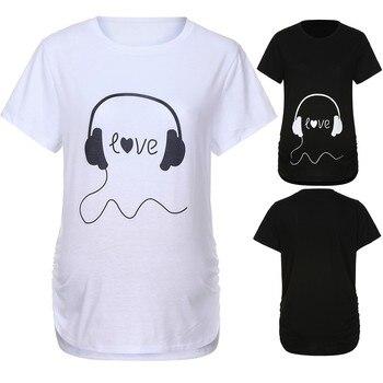 dd508f3f5 Maternidad de la mujer camiseta Camiseta de manga corta carta auriculares  impresión embarazo ropa de verano Tops maternidad Vetement Femme 2019