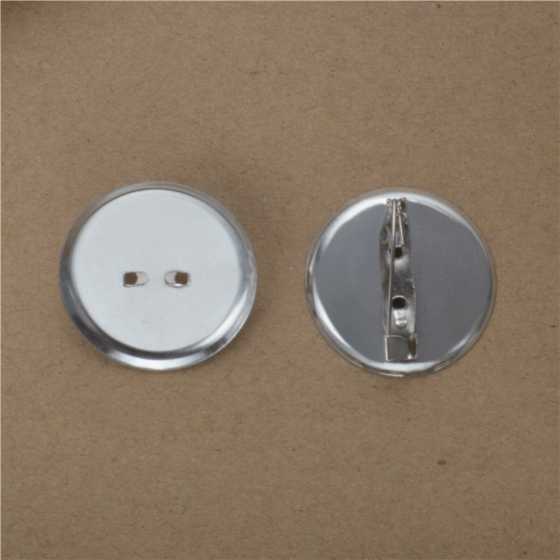 50pcs Rhodium Plated Brooch Base Blanks Settings with Safety Pins Fitting for 13/19/24/29mm Round Cameo Cabochons Tray