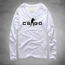 2016 CS GO Men T Shirt Long Sleeve v Neck Hot Top Quality CSGO Game Casual Cotton tshirt Man Tee Printed Brand t-shirt Plus size