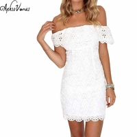 Lady Summer Off Shoulder Lce Dress Sexy Elegant Out Ruffles Party Dresses Vestidos Robes Slash Neck