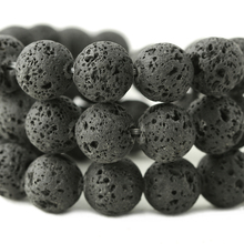 Wholesale Natural Black Lava Rock Volcanic Beads For jewelry Making DIY Necklace Bracelet Material 4/6/8/10/12 mm Strand15.5""