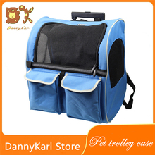 DannyKal Pet Double Wheel Trolley Bag Cat And Dog Portable Out Bag Rolling Luggage Fine Funing Suitcase Ravel Wheel Backpack
