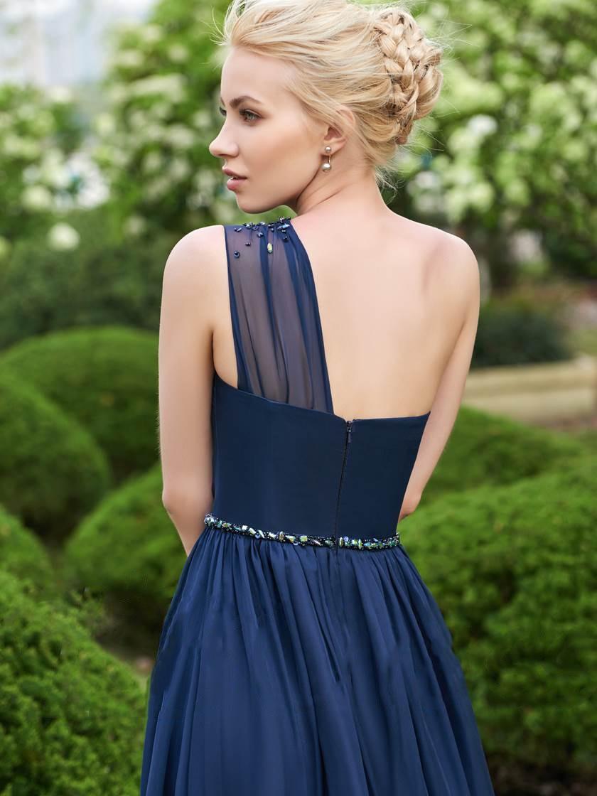 Une épaule en mousseline de soie longues robes de demoiselle d'honneur 2019 perles robes de fête de mariage robe demoiselle d'honneur - 2
