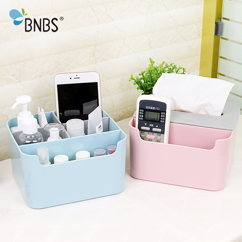 BNBS Plastic High-grade Organizer Tissue Box Multifunctional Jewelry Makeup Storage Box Remote Control Holder Stationery Box