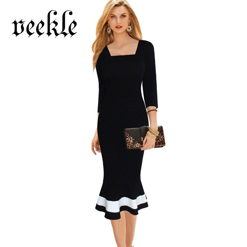 VEEKLE Women Mermaid Dress Office Summer Vintage Black ...