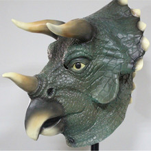 Hot selling Eco-friendly Adult size realistic latex Dinosaur Head Mask Triceratops Full Deluxe Halloween Costume Party