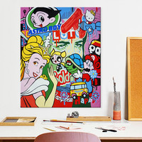 Poster of Lichtenstein Pop Art Cartoon, Hand painted Andy Warhol oil painting,Wall Pictures for living Room home decor wall art