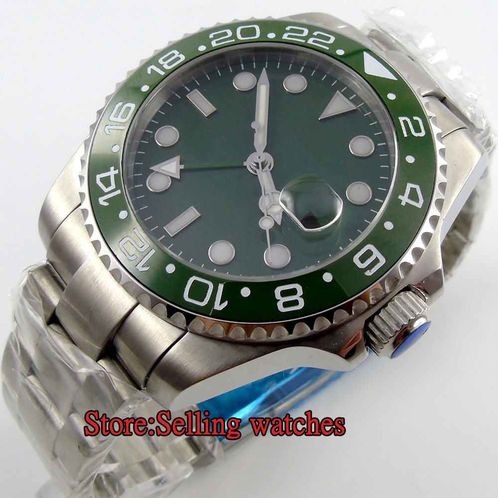 43mm BLIGER green olive dial GMT Ceramic Bezel sapphire automatic mens watch
